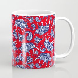 Ox Paisley (Blue and Red Palette) Coffee Mug