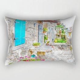 Aquarelle sketch art. Town cobbled street view, region of Istria, Croatia Rectangular Pillow