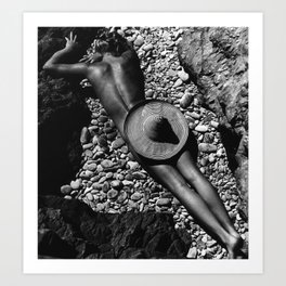 A Girl at the Beach with just her hat black and white photography Art Print
