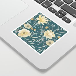 Floral Prints, Green and Yellow Sticker