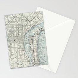 Vintage Map of Philadelphia PA (1889) Stationery Cards