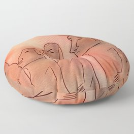 Moai statues watercolor Floor Pillow