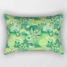 Groovy Mushroom Garden in Avocado Green Rectangular Pillow