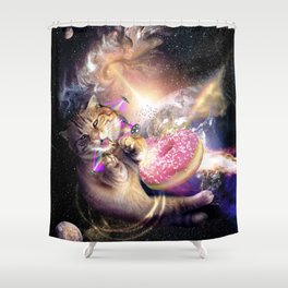 Galaxy Space Cat Reaching Donut With Laser Shower Curtain