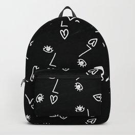Face on black & white Backpack