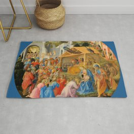 """Fra Angelico and Fra Filippo Lippi """"Adoration of the Magi"""" Rug"""