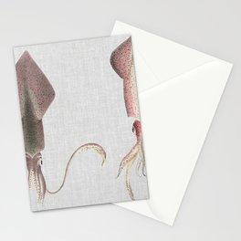 Vintage Squids Illustration Stationery Cards