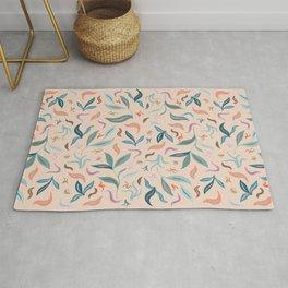 Warm Tone Leaves Pattern Rug