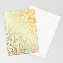 Bohemian Gold Feathers Illustration With White Shimmer Stationery Cards