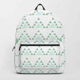 Modern pastel green white triangles chevron zigzag Backpack