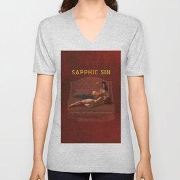 Sapphic Sin - Erotic Lesbian Nude Naked Pulp Novel Cover Art Unisex V-Neck