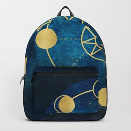 Gold Moon Phases Sun Stars Night Sky Navy Blue Backpack