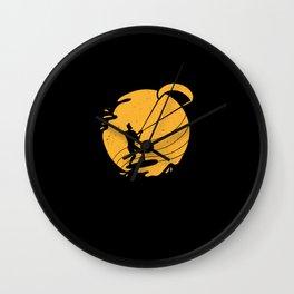 Kiteboarding Retro Vintage Silhouette Distressed Wall Clock