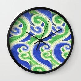 Blue-Green Waves Wall Clock