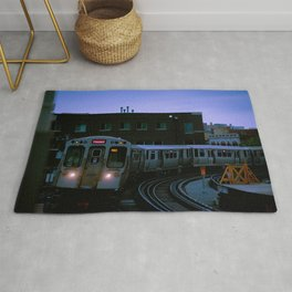 On Time El Train Chicago Train Windy City Transit Red Line L Train Rug