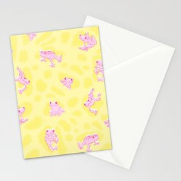 Froggy Frog pink yellow peepers Stationery Cards