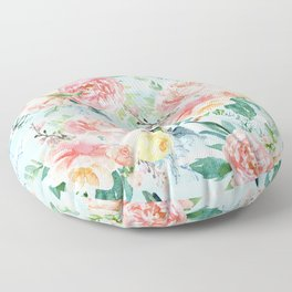 Minty Vintage Floral Floor Pillow