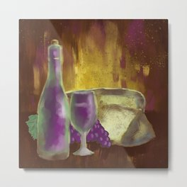 Wine Bottle Glass Grapes and Cheese Still-Life Metal Print