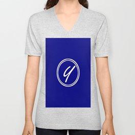 Monogram - Letter Y on Navy Blue Background Unisex V-Neck