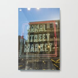 New York Neon Sign | Canal Street Manhattan Bridge USA America Photo Print | pastel - travel - photography - Art print Metal Print