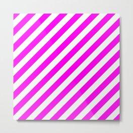 Diagonal Stripes (Magenta & White Pattern) Metal Print