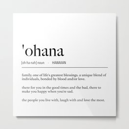 Hawaiian Ohana (Family) Definition Metal Print