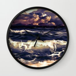 stormy sea waves reacls Wall Clock