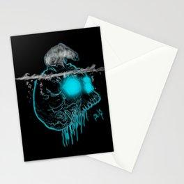 Calavera neón azul con oso polar calentamiento global Stationery Cards