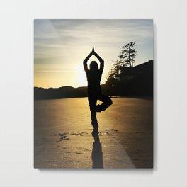 Silhouette Beach Yoga  Metal Print