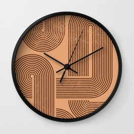 Abstract Brown Retro Lines Wall Clock