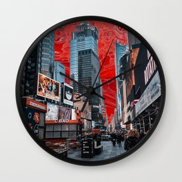 times square sunset  Wall Clock