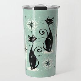 Mid Century Meow Retro Atomic Cats Mint Travel Mug