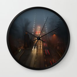 Lions Gate in the Fog Wall Clock