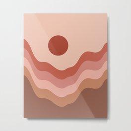 Sunset In Mountains Modern Boho Metal Print
