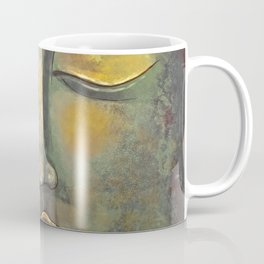 Rusty Golden Buddha Face - Zen and Balance Watercolor Painting Coffee Mug
