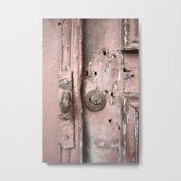Pink Rusty Door Metal Print