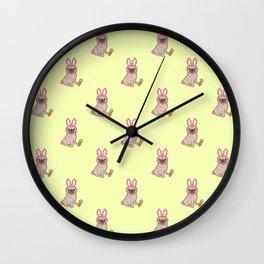 Pug dog in a rabbit costume pattern Wall Clock