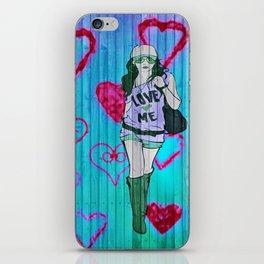 Love Me (no2) in blue iPhone Skin
