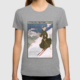 1905 Chamonix France Winter Sports Travel Poster T-shirt