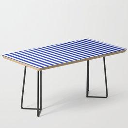 Cobalt Blue and White Vertical Deck Chair Stripe Coffee Table