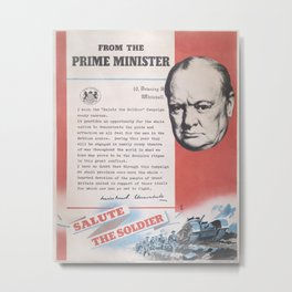 Reprint of Winston Churchill British wartime poster. Metal Print