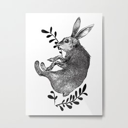 Autumn Rabbit Metal Print