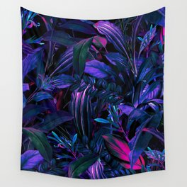 Future Garden Tropical Night Wall Tapestry