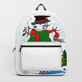 A Snowman (Snow Woman) in a Red Scarf Backpack