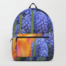 Tulips and Grape Hyacinths, Flower Field, Purple and Orange Backpack