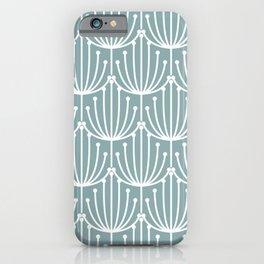 Retro Art, Floral Prints, Light Teal iPhone Case