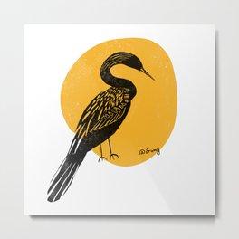 Bird Artwork - Block Print - black bird - yellow Metal Print