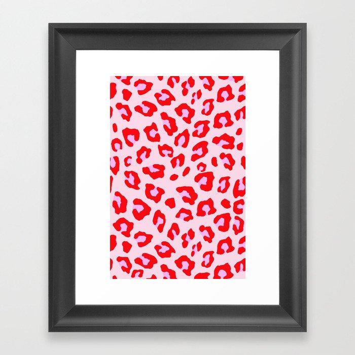 Leopard Print - Red And Pink Gerahmter Kunstdruck