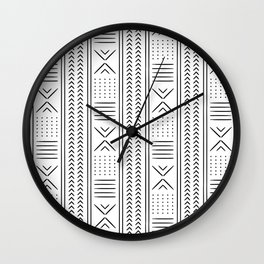 mud cloth in black and white Wall Clock