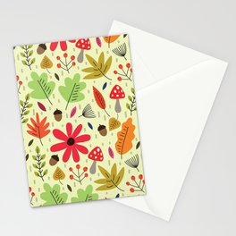 Autumn woods foliage pattern Stationery Cards